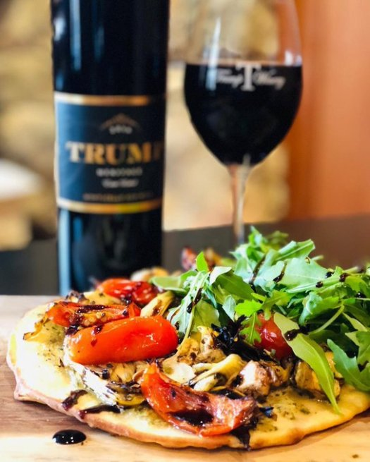 trump winery artichoke tomato flatbread